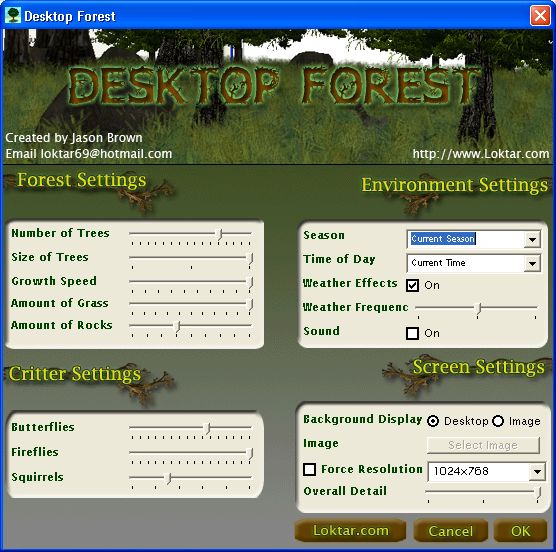 Forest Screen Saver Settings